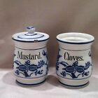 ANTIQUE FLOW BLUE CANISTERS WITH ONE LID MARKED GERMANY