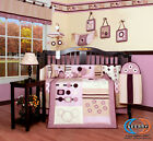 15PCS Baby Girl Artist CRIB BEDDING SET - With Lamp SHADE and Mobile
