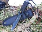 Black Utility Survival Hunting Tactical Throwing Dive Knife With Nylon Sheath SL