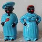 Black Americana Aunt Jemima Peppy & Chef Salty Salt & Pepper Shaker Set - Blue