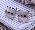Square laser silver womensMens Wedding Gift party shirt Cufflinks Cuff Links
