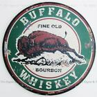 Buffalo Whiskey Round Dome TIN SIGN bison vtg ad home bar metal wall decor OHW