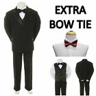 New Teen Boy Black FORMAL Wedding Prom Party Tuxedo Suit + Burgundy Bowtie 16 20