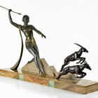 HUGE 1920s French ART DECO Diana The Huntress SCULPTURE by J. DAUVERGNE