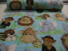 PATTY REED Designs MICRO FLEECE fabric 2 yds JUNGLE BABIES FRIENDS soft