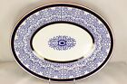 ANTIQUE ROYAL WORCESTER CHINA RW9634 OVAL PLATTER COBALT FLOW BLUE GOLD WHITE