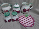 Alco Stoneware Apple Sugar Bowl Creamer Pitcher Salt Pepper Shakers Spoon Rest
