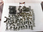 Large Lot of Plastic Army Men and 3 Tanks, barb wires, barricade, flag stand