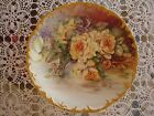 ANTIQUE LIMOGES  D.&Co HAND PAINTED PLATE, CHARGER, YELLOW ROSES & GOLD, 10 1/2