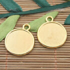 10pcs gold tone 2sided round shaped picture frame charm h3014