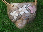 ANTIQUE/VTG HAND-CRAFTED CLAY HANGING FIGURAL FLOWER POT~STUNNING