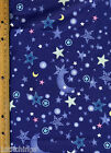 Night Sky Moon Stars on Blue Quilt Quilting Fabric  2 yards plus 31