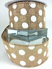 Burlap Ribbon With White Polka Dots Wired 2.5