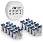 EBL (20 Pack) 9V 600mAh Li-ion Rechargeable Batteries + Battery Charger