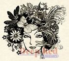 Deep Red Rubber Cling Stamp Vintage Inspired Madame Dragonfly Woman