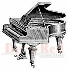 Deep Red Rubber Cling Stamp Baby Grand Piano Musical Instrument