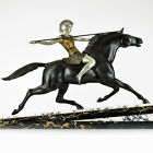 HUGE 1920s French ART DECO Riding Amazon SCULPTURE by MELO, Female Warrior