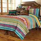 SOUTHWEST LODGE Full Queen QUILT SET  RED GREEN SOUTHWESTERN NATIVE TRIBAL