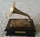 WORKING Vintage Brass Horn and Disc Player Phonograph Music Box