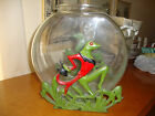 ART DECO VINTAGE CAST IRON DANCING FROGS FISH BOWL STAND circa  1920-1930