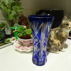 BOHEMIAN CRYSTAL BLUE VASE- STUNNING 18cm HIGH MADE IN HUNGARY