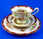 Deep Red Chelsea Bird Royal Albert Tea Cup, Saucer and Plate Trio Set