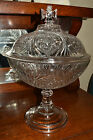 1800s EAPG Patterned Pressed Glass Large 14 Covered Compote Maltese Cross
