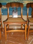Set of Six (6) Antique American Empire Cherry Side Chairs, Cane Seats circa 1860