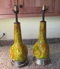 Pair Speckle Pinched Ceramic Mid Century Modern Table Lamps- Danish Modern 60's