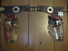 Vintage Cap Gun and Holster set with badge, Hubley Rodeo's, Amber Grips