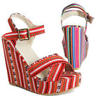TheMogan Vibrant Tribal Printed Stripe Wedge Platform Sandals