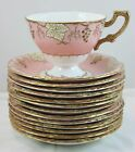 12 FINE SETS ROYAL CROWN DERBY VINE SALMON PINK FOOTED CUPS SAUCERS GOLD WHITE