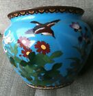 Rare Japanese Meiji 19th C. Cloisonne Enamel Copper Blue Bird Flower Pot Planter