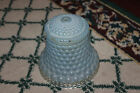 Antique Victorian Art Deco Blue Glass Lampshade Ribbed Body Bell Shape