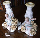 Antique Dresden Lace Bisque Figural Candle Holders Pair