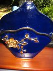 CAPODIMONTE WALL HANGING VINTAGE HAND PAINTED ITALY  PORCELAIN PLATE GOLD BLUE