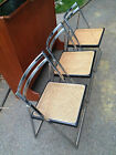 3 Mid Century Modern Chrome Chairs Folding Stacking Baughman Style Cane Retro A+