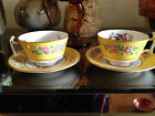 Price to sell Pair spode copeland teacups & saucers 2-6843 yellow birds flowers