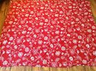 King Duvet Cover Red with White Graphic Floral
