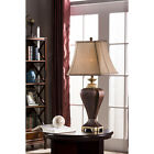 Brown Finish Table Lamp With Fabric Shade (Set of 2 Lamps)