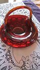 GLASS BASKET VINTAGE RUBY RED RUFFLED EDGE CANDY DISH BOWL PLUS PLATE ~ LOT