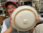 rare 13 inch stoneware / crock lid / inside lip 11 inches / #6 on the lid knob