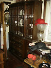 Late 1800's Bubble Glass China Cabinet, Walnut Burled Walnut Drawer Fronts. 6884