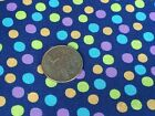 Fabric Sea Smiles Colored Bubbles on Navy Blue Cotton 1 yard