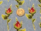Fabric Flowers Rose Buds on Blue Duck Cotton 1 yard *4*