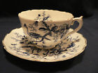 DARK BLUE BIRDS INSECTS AND  TREE BRANCHES TEA CUP AND SAUCER