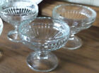 3 Vintage Jeannette Glass Rib Champagne Tall Sherbert Marked J - Ribbed Pattern