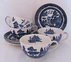 Johnson Willow Cup Saucer Four (4) Sets Older Mark Blue Transferware
