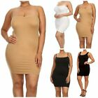 PLUS SIZE INTIMATE SHAPEWEAR SLIP CAMISOLE DRESS BLACK NUDE WHITE SEAMLESS XL 3X
