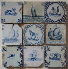 9 ANTIQUE DUTCH DELFT TILES 17th century